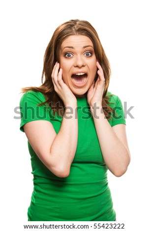 Surprised young woman in a green T-shirt.  Without skin retouch. Isolated over white.