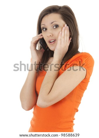 surprised young woman on the phone, white background