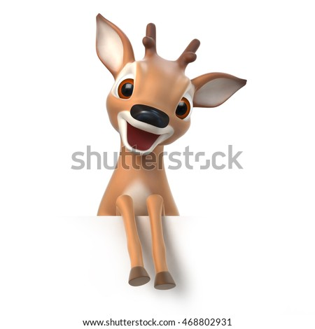 surprized little cartoon fawn, 3d render