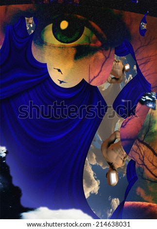 Surreal abstract human face - stock photo
