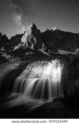 Surreal black and white landscape in the Wind River Mountains, Wyoming, USA. - stock photo
