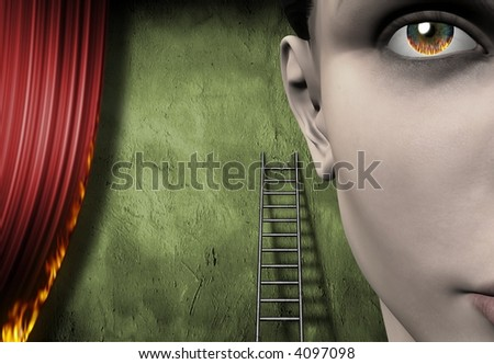 Surreal burning curtain and face - stock photo