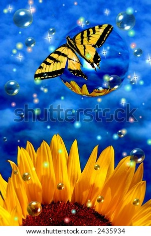 Surreal butterfly on bubble with sunflower and stars - stock photo