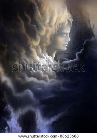 surreal canvas painting painted by me named Melancholic, it shows a thoughtful face surrounded of dramatic stormy clouds - stock photo