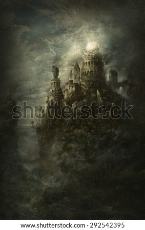Surreal castle - stock photo
