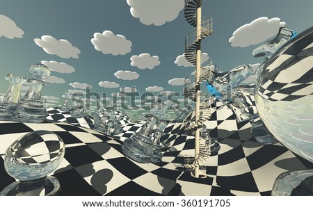 Surreal Chess board Landscape  - stock photo