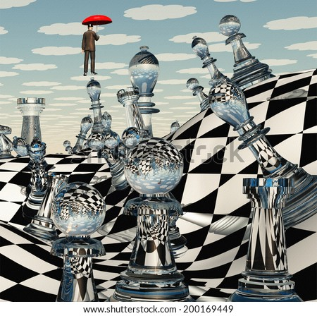 Surreal Chess Landscape - stock photo