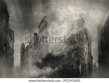 Surreal cityscape - stock photo