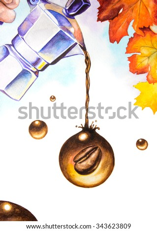 Surreal coffee composition. Autumn mood. Watercolor illustration