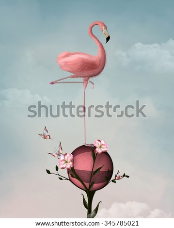 Surreal composition with flamingo and lilies - stock photo