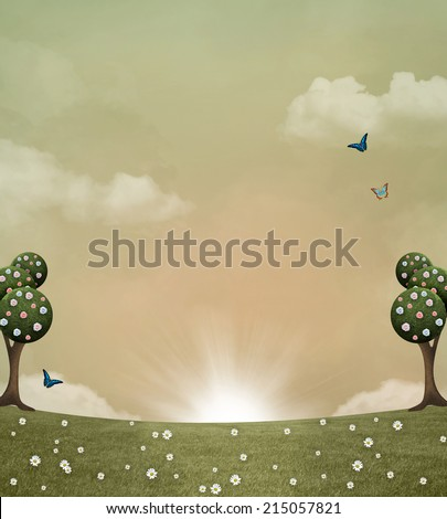 Surreal country background - stock photo