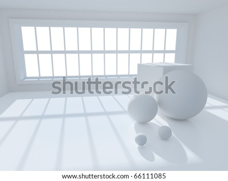 surreal 3d image of interior with geometric objects