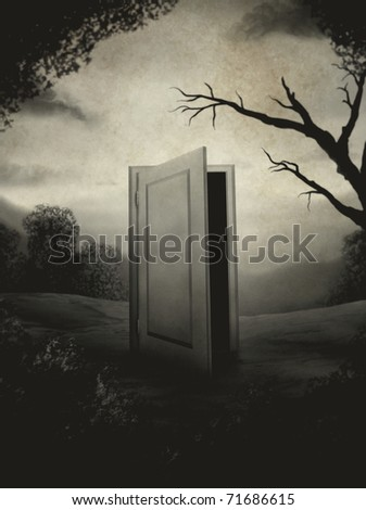 surreal digital painting of an open door in the center of a landscape made to look like an aged vintage photograph - stock photo