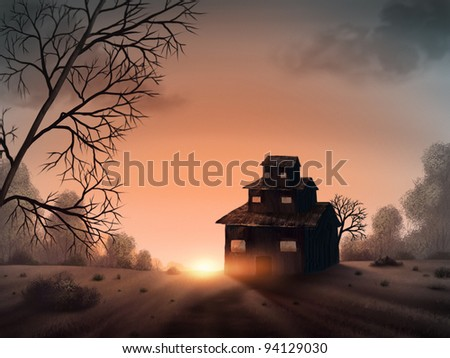 surreal digital painting of the sun setting behind an odd, three-tiered house - stock photo