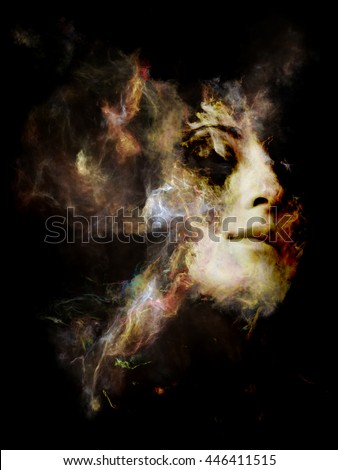 Surreal Dust Portrait series. Arrangement of fractal smoke and female portrait on the subject of spirituality, imagination and art