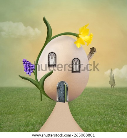Surreal egg house - stock photo