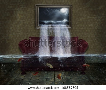 Surreal flooded room and a picture of a sea with his water falling down - stock photo