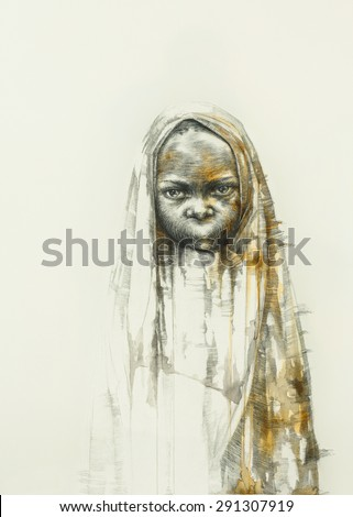 Surreal hand drawing, child decorative artwork  - stock photo