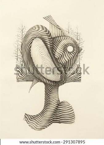 Surreal hand drawing, decorative artwork - stock photo