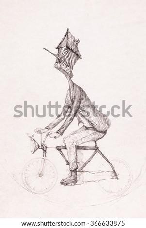 Surreal hand drawing, man riding a bike sketch decorative artwork - stock photo