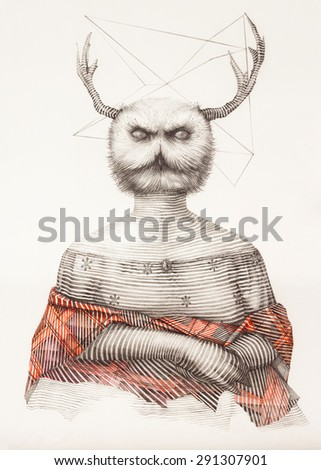 Surreal hand drawing of a lady owl decorative artwork  - stock photo