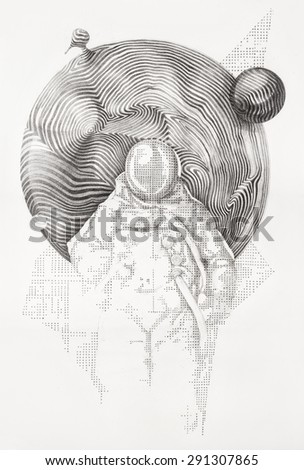 Surreal hand drawing of an astronaut in space, decorative artwork   - stock photo