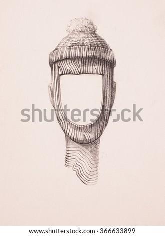 Surreal hand drawing, portrait decorative artwork - stock photo
