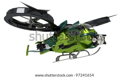 surreal helicopter going to attack - stock photo