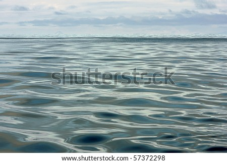 surreal horizon at sea - stock photo