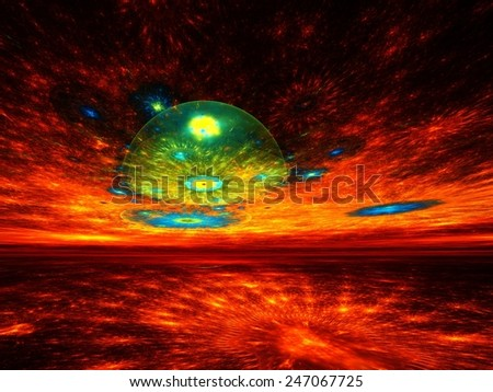Surreal horizons - abstract fractal render  - stock photo