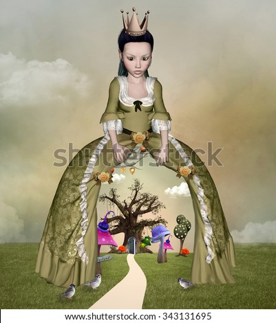 Surreal illustration with a queen and dress as a curtain inspired by Alice in wonderland fairytale - stock photo