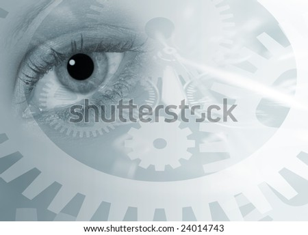 Surreal image of female eye over time concept - stock photo