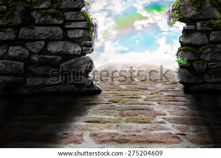 Surreal image of the way into the sky. - stock photo