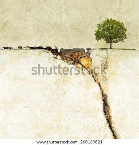 Surreal landscape with single tree - stock photo