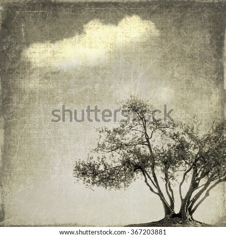 Surreal landscape with single tree in gray tones - stock photo