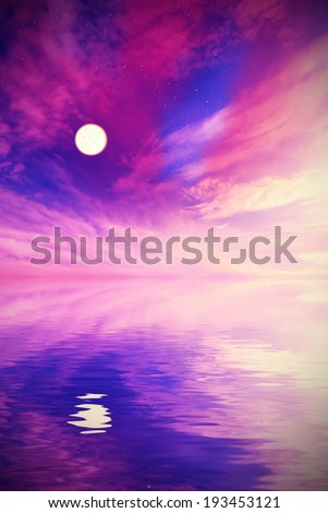 surreal landscape with the stars, clouds and the moon. Unreal landscape - stock photo