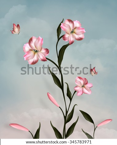 Surreal lily and butterflies - stock photo