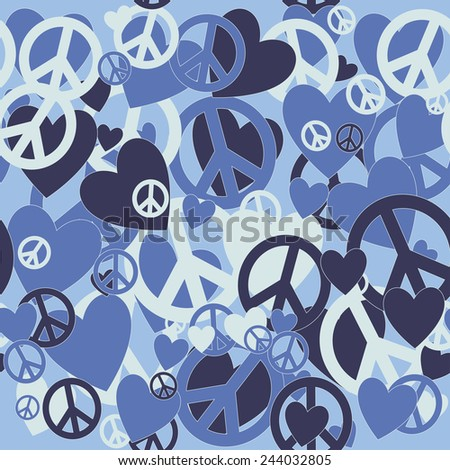 Surreal Military Camouflage Background with Love and Pacifism sign - stock photo