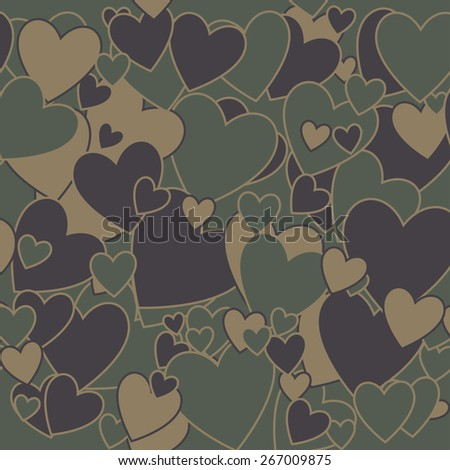 Surreal Military Camouflage Background with Love heart shape - stock photo