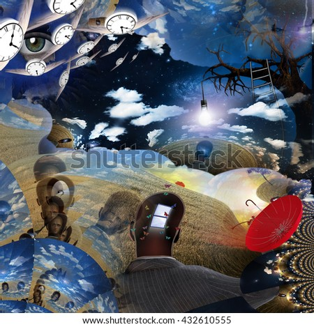 Surreal Montage 3D Render - stock photo