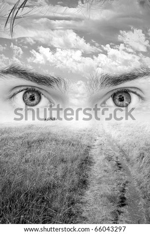 Surreal nature artwork with eyes seeing the vision of nature. Daydreaming with head in the clouds. - stock photo