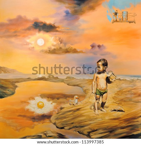 "Surreal oil painting on canvas - ""Children's Day"" Sun reflected eggs. War child plays with iron jar. In the background the artist paints the sky in blue - art will save the world."