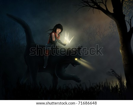 surreal painting of a fictional tattooed girl riding a black cat through a dark and moody forest - stock photo