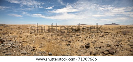 Surreal panorama of the Namib desert going towards solitaire and sossusvlei