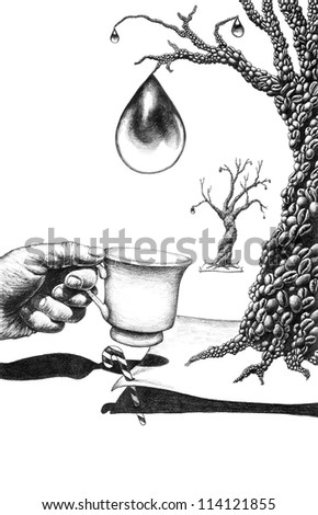 Surreal pencil drawing on coffee - stock photo