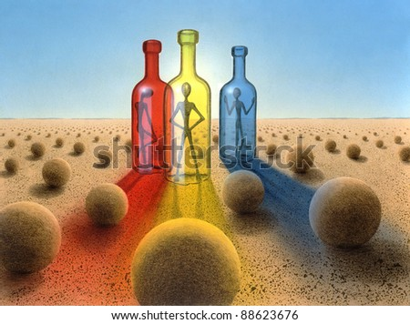 surreal picture painted by me named Three Bottles.