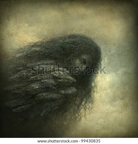 Surreal portrait - stock photo
