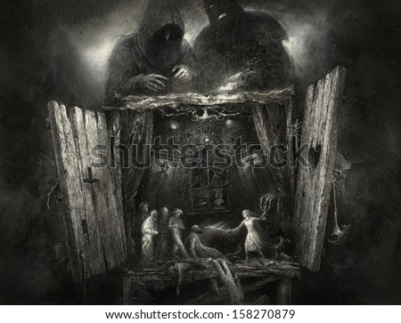 Surreal puppet show - stock photo