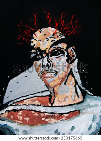 Surreal Queen, oil painting - stock photo
