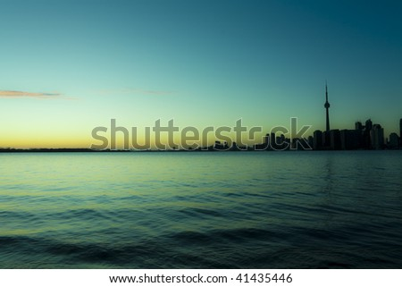 Surreal rendition of a toronto skyline - stock photo